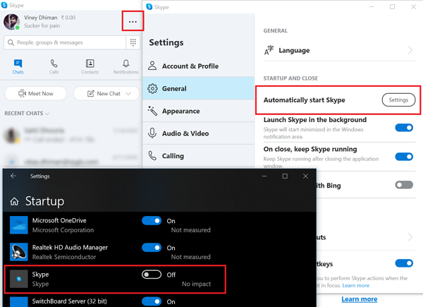 disable automatically start skype in windows 10