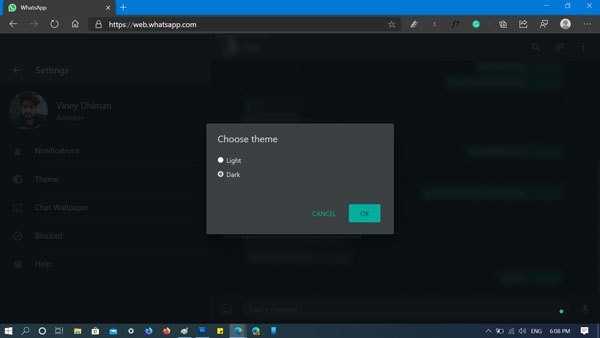 How to Enable Dark Theme in WhatsApp for Web