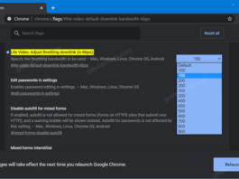 Chrome Lite Video Gets option to Adjust Throttling Downlink (in Kbps)