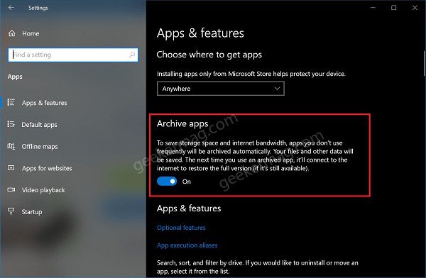 Archive apps feature in windows 10 settings app