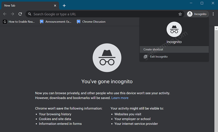 create chrome incognito mode shortcut