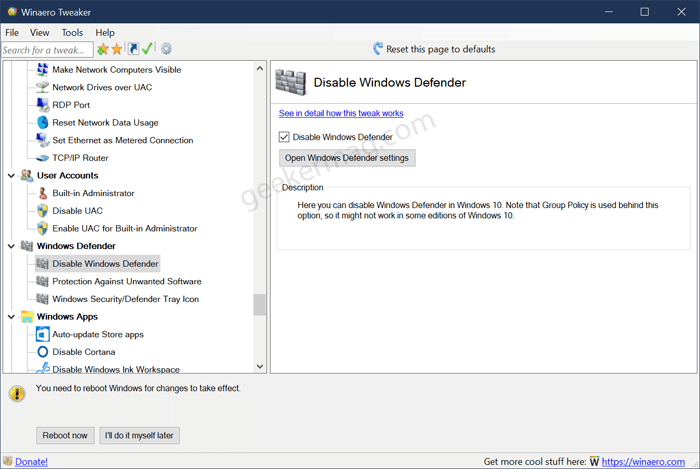 disable windows defender in windows 10 using Winaero tweaker