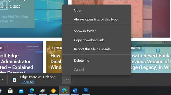 Microsoft Edge old download UI