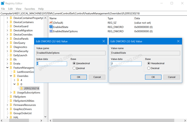 enabled state and enabled state options registry value in windows 10
