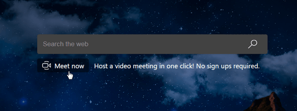 microsoft edge meet now button on edge new tab page