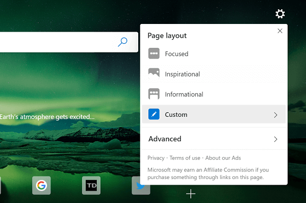 page layout menu in microsoft edge