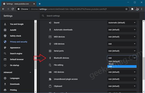 web bluetooth device permission in Chrome site settings ui