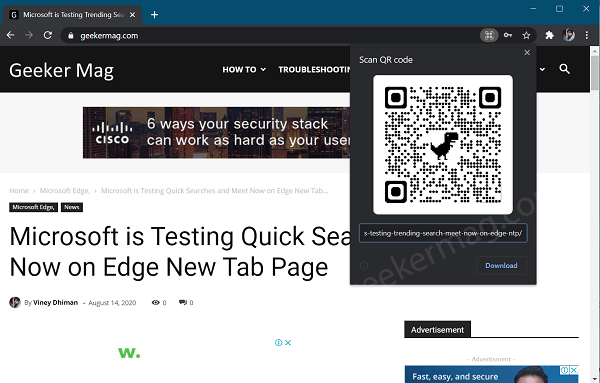 google chrome Scan QR code for web page