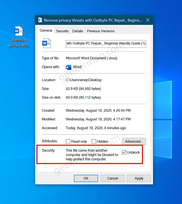 This file came from another computer and might be blocked to help protect this computer
