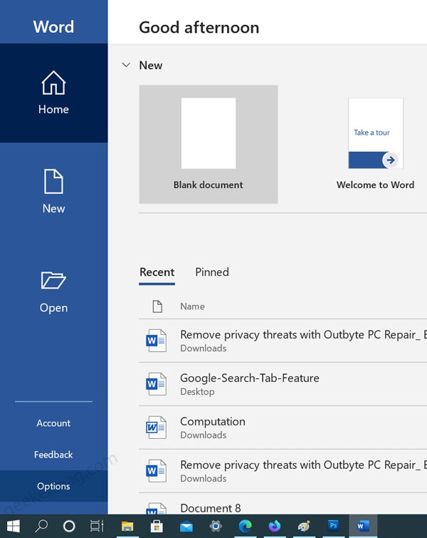 open word app on windows 10