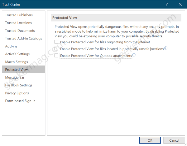 word protected view settings