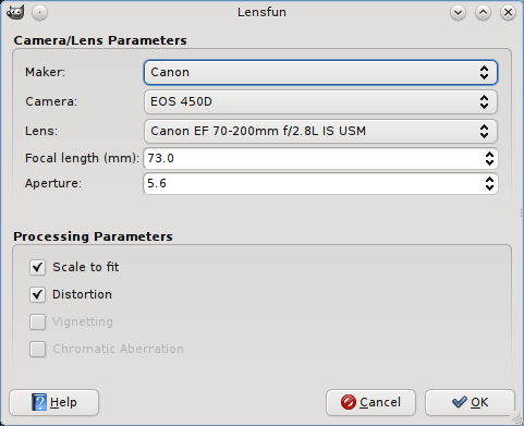 lensfun plugin for gimp