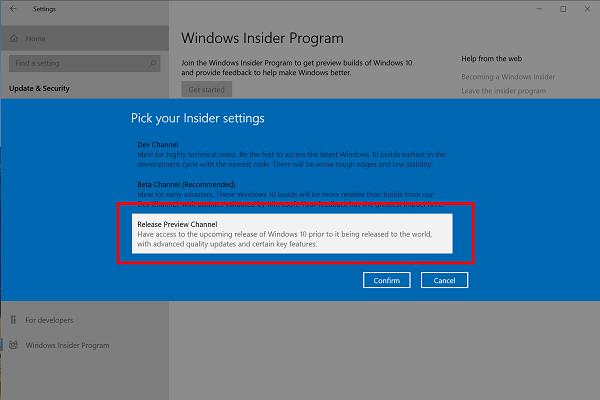 pick your insider settings - windows insider program