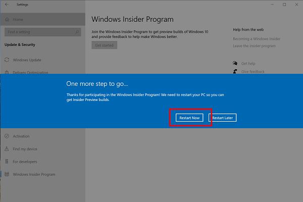 one more step to go - windows insider program