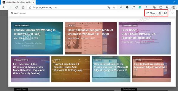 web capture - save screenshot in edge