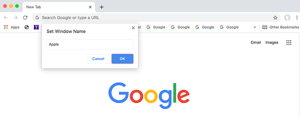 Set Window name in Chrome browser