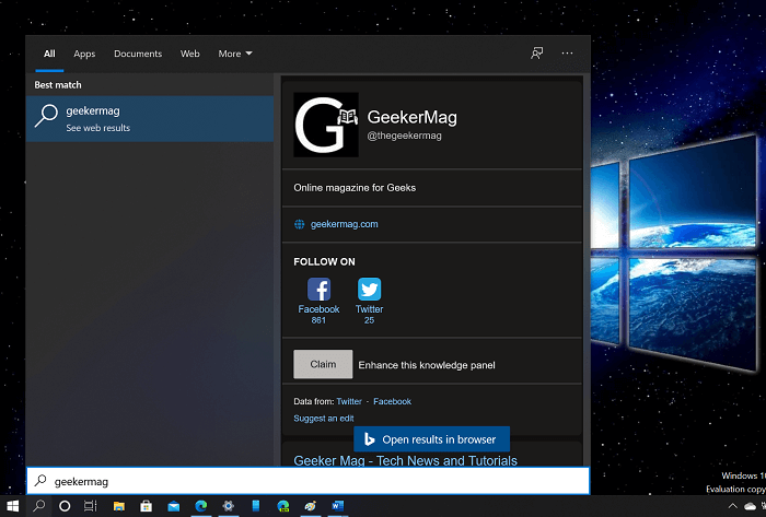 Windows 10 Search results now support Dark Theme