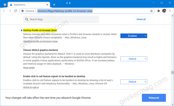 Destroy Profile on browser close feature in chrome
