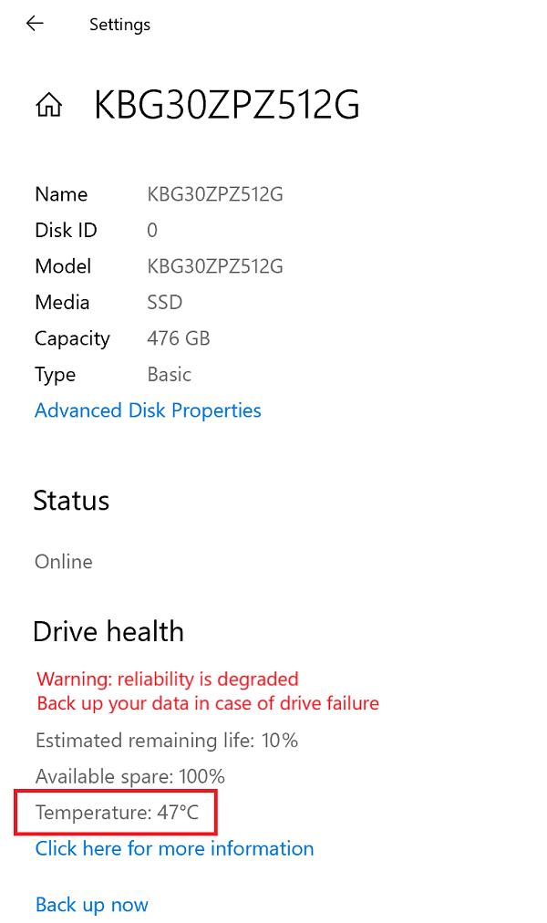 windows 10 settings app drive health - temperature