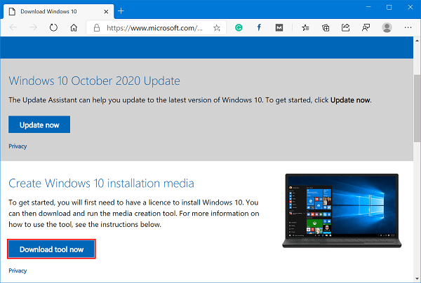create windows 10 october 2020 update installation media