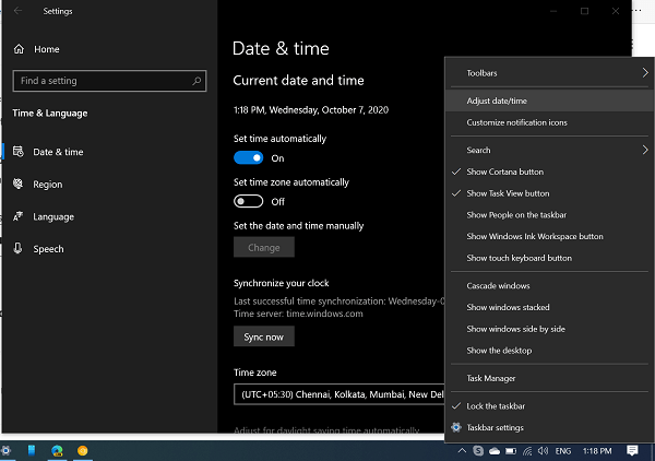 windows 10 date and time settings