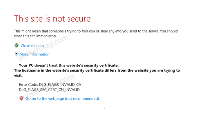 Error Code: DLG_FLAGS_INVALID_CA in Windows 10 (Edge and other )