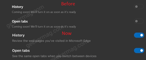 edge history and open tab sync