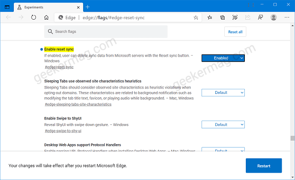 Enable Reset Sync in Microsoft Edge