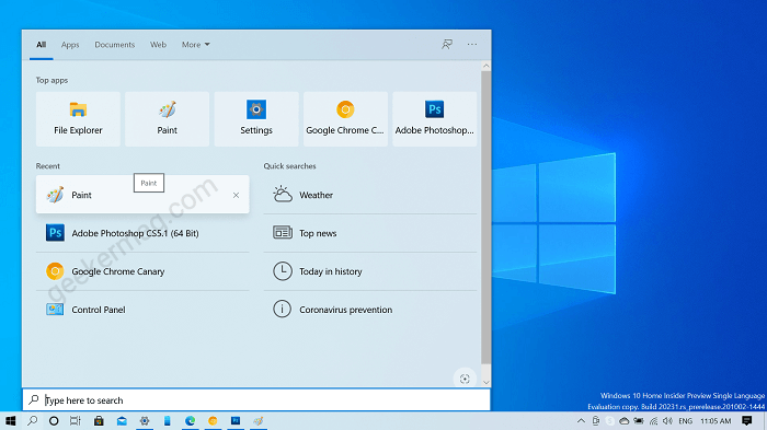 remove recent search item from windows 10 search box