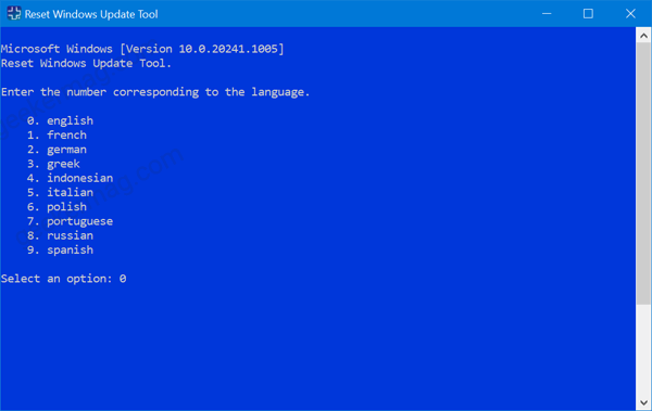 select language on Reset Windows Update tool for windows 10