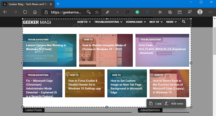 Microsoft Edge Web Capture tool gets Add Notes Option
