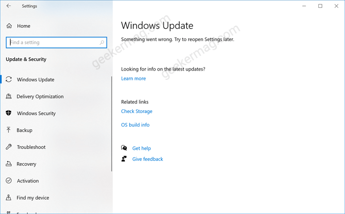Fix - Something went wrong. Try to reopen Settings later in Windows 10