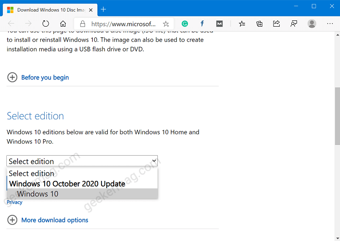 download windows 10 October 2020 update iso from Microsoft