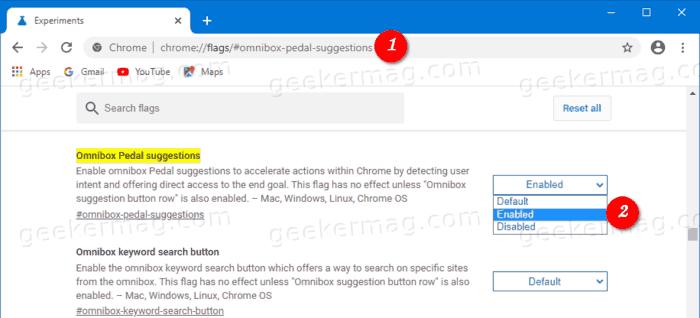 "google chrome ""Omnibox Pedal suggestions'"" flag"