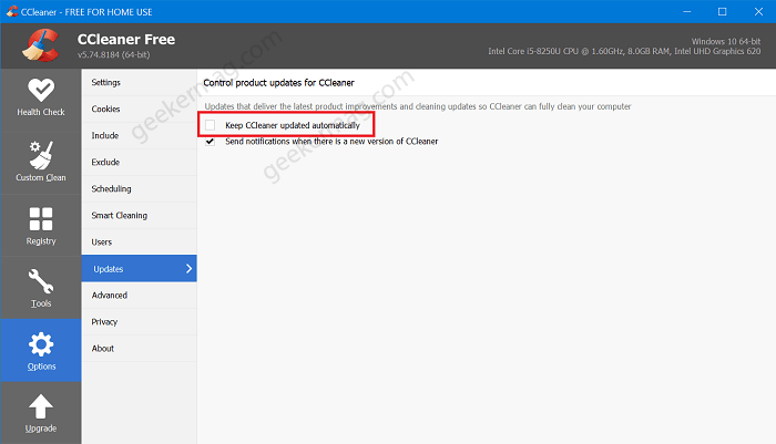 How to Disable Automatic Updates in CCleaner Free Version
