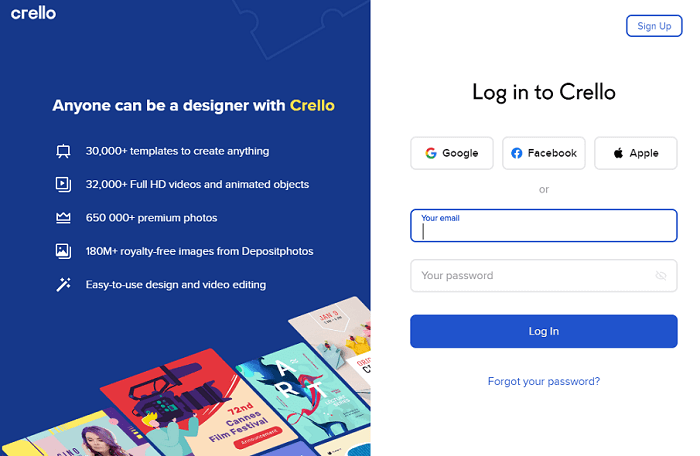 Crello's Main Features and Principles of Work