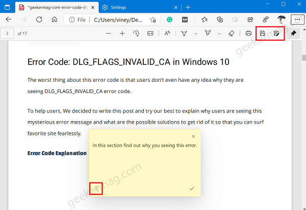 delete content in pdf document in microsoft edge