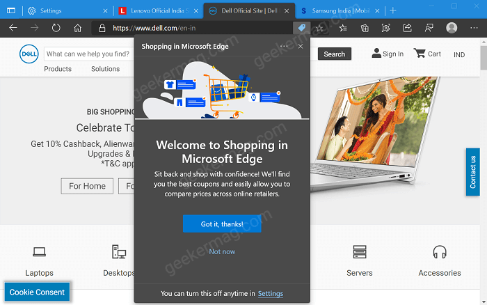 Microsoft Edge Showing Coupons in Address bar