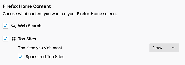 disable sponsored top sites in firefox