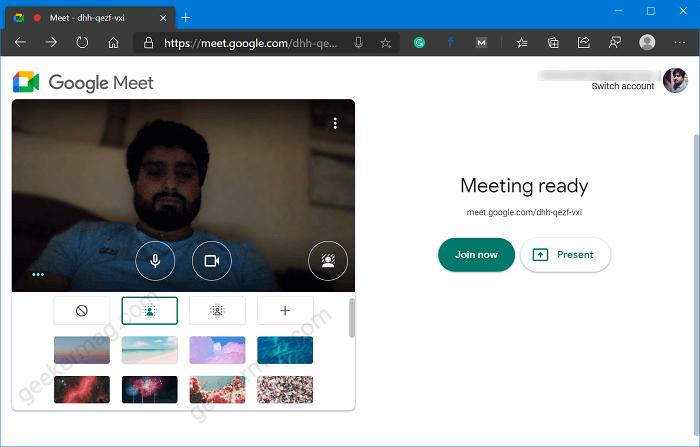 google meet custom backgrounds