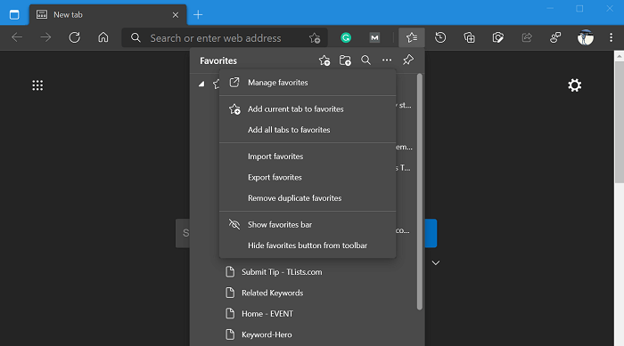 microsoft edge favorite displaying incorrectly