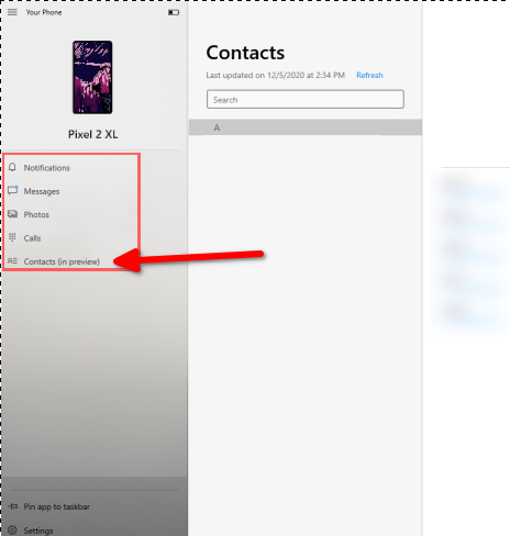 Your Phone Display Contacts in Windows 10