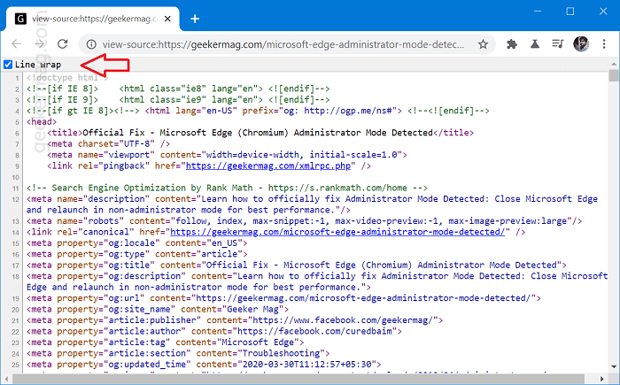 chrome line wrap in view source code.