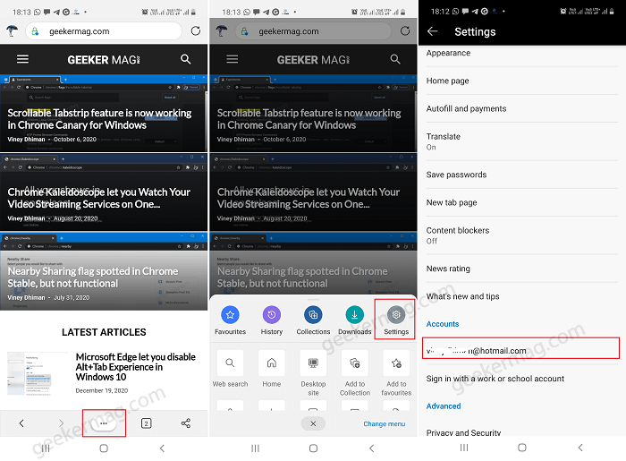 Enable History and Open Tabs sync in Edge on Android