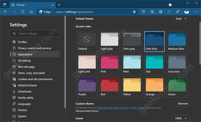 select custom accent color in microsoft edge