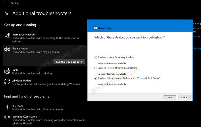 Audio troubleshooter for windows 10