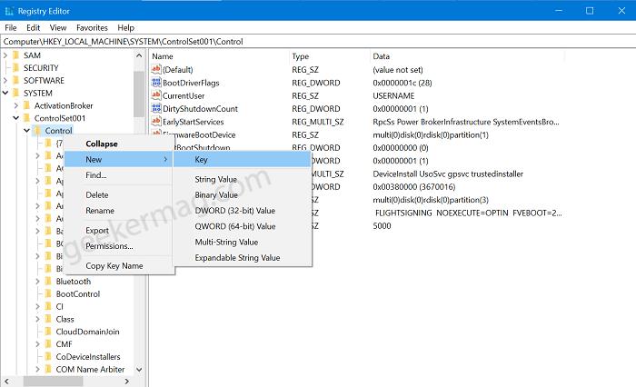 bootcontrol key in windows 10