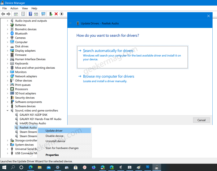 download and install audio driver in windows10