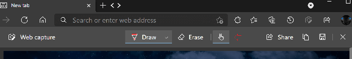 draw with touch button in microsoft edge web capture tool