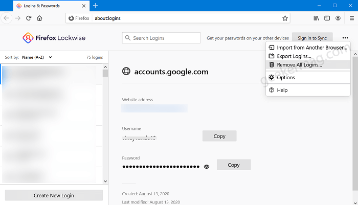 """firefox lockwise """"remove all logins"""" options"""